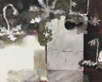 春庭 72.5×91.0cm 紙本着彩 箔 揉み紙 墨 パステル 鉛筆