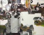 夏ノ庭 130.5×162.0cm 紙本着彩 箔 墨 揉み紙 パステル 鉛筆