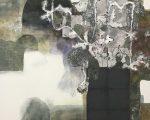 草木も 91.0×91.0cm 紙本着彩 箔 揉み紙 パステル 鉛筆